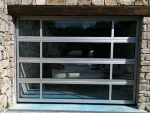 Glazed sectional garage door