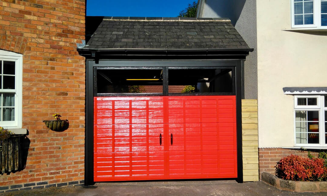 Retro design garage door in glossy finish