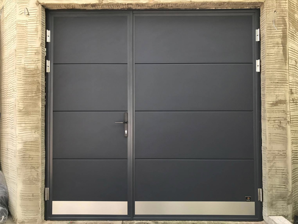 Side hinged garage door stainless steel applique