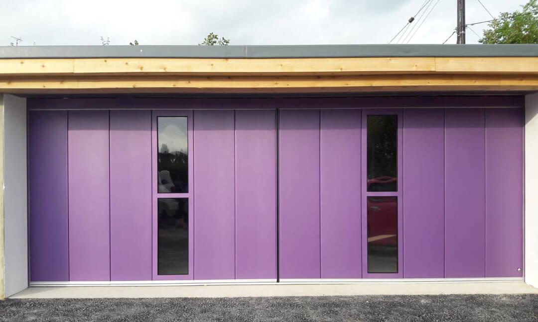 Bi-parting sliding door with glazed panels