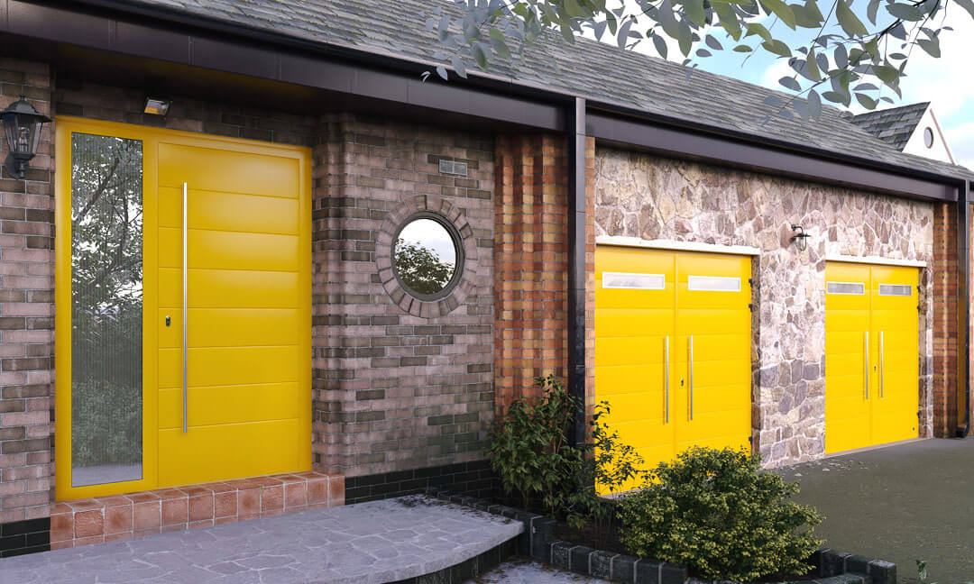 Matching front & garage doors with pull handles