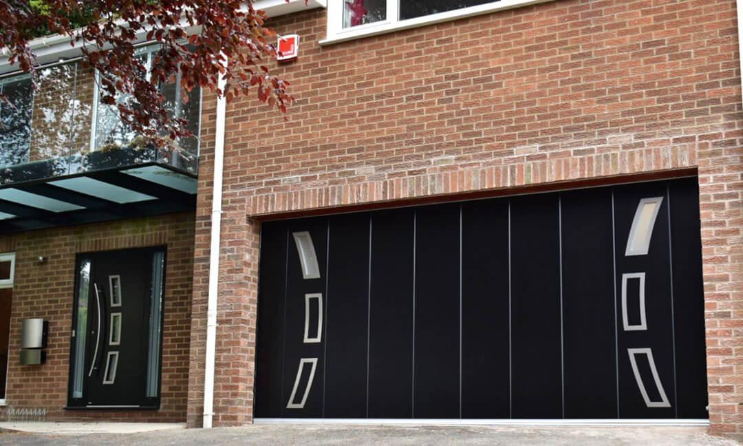 Front & sliding garage door with 'Sails' design windows and appliques