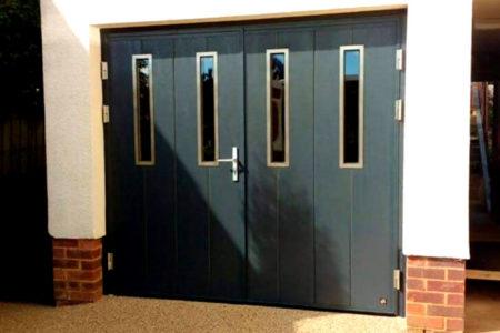 Side Hinged garage Door - vertical layout & oblong windows