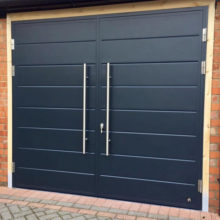 Side Hinged Garage Door - Midrib design & pull handles