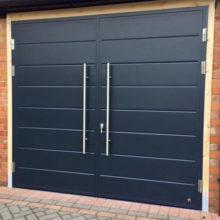 Side Hinged Garage Door - Midrib design & pull handles