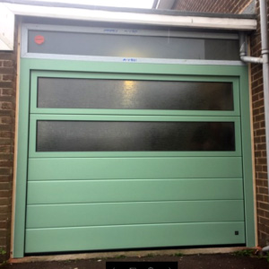 Garage door with 2 glazed panels