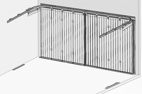 Side sliding garage doors  Traditional outside - modern inside