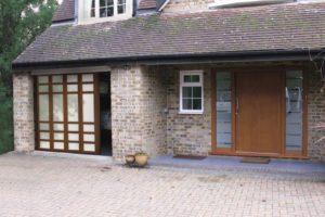 Sliding door with glazed custom panels
