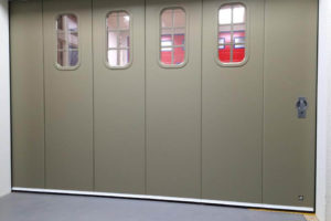 Sliding door with custom design windows
