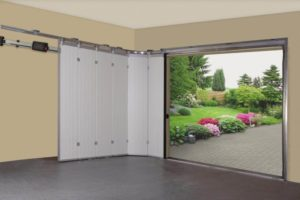 Side sliding garage doors  Traditional outside - modern inside