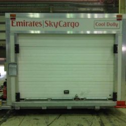 Sectional door on refrigerated cargo container