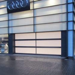 Glazed door at car showroom