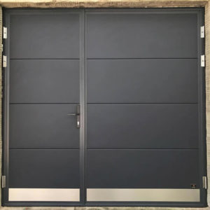 Hinged door with kick plates on leafs