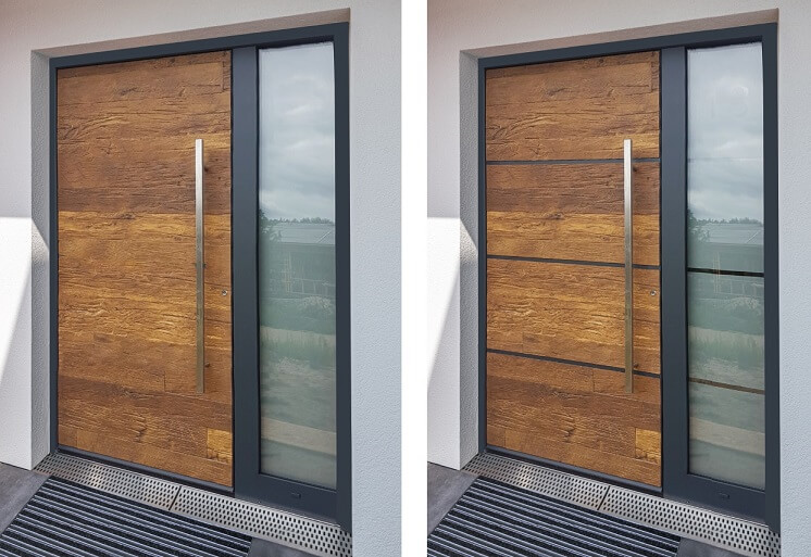 Aluminium front doors clad with wood sheets