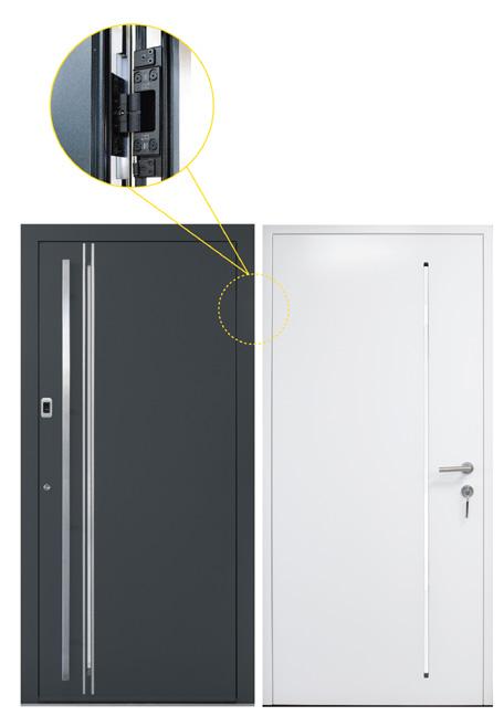 Aluminium door with concealed hinges