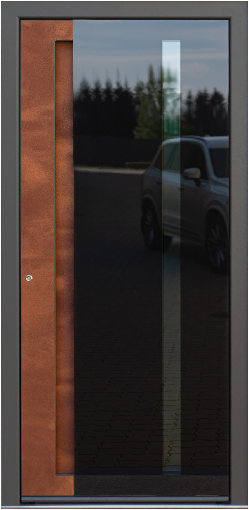 Ryterna front door with inlay handle & corten and glass cladding'cement' panel