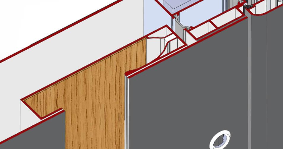 Inlay handle cross-cut view