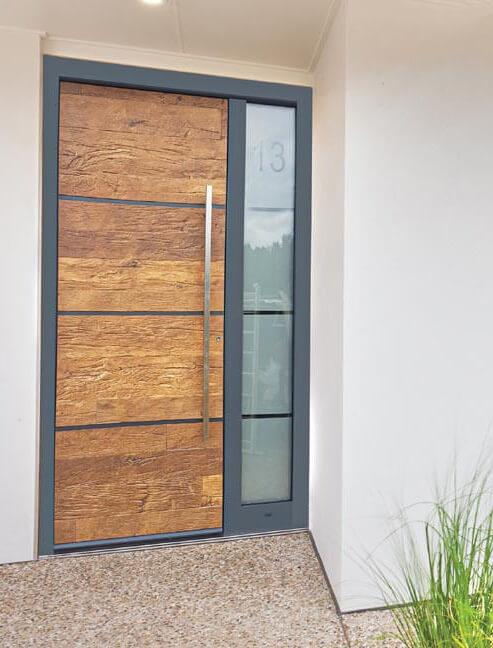 Front door with wood image panel