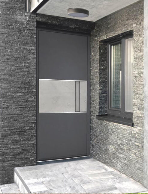 Front door with cement image panel