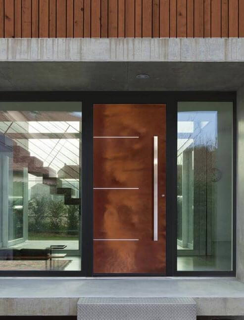 Front door with corten panel