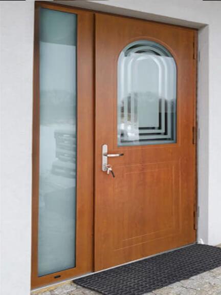 Front door with custom shape window