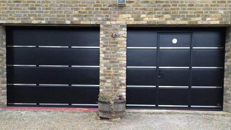 Sectional garage door with wicket & appliques