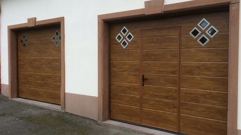 Sectional door with wicket & diamond shape windows